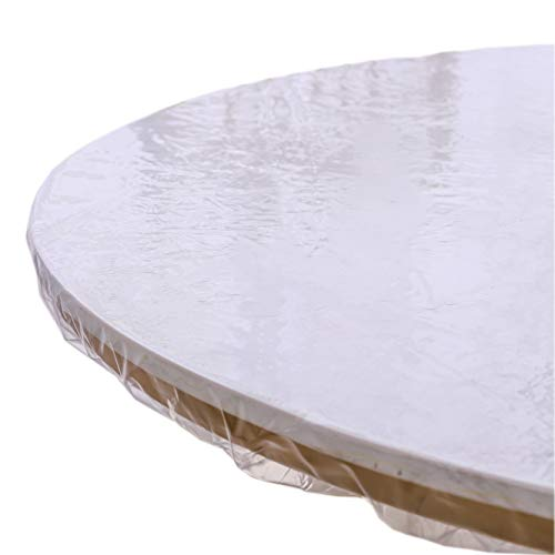 Clear Round Vinyl Fitted Tablecloth Waterproof Oilcloth Heavy Duty...
