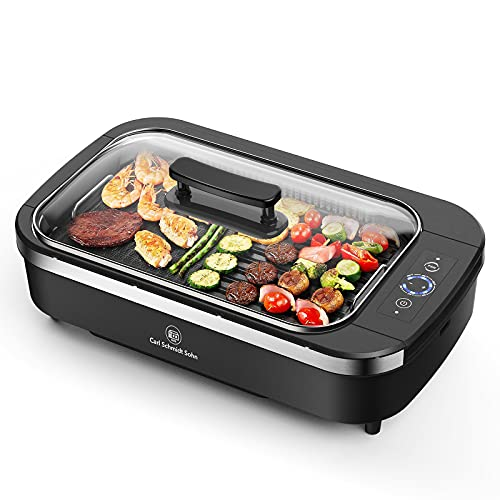 Indoor Smokeless Grill-Electric Grill with Tempered Glass Lid, Removable...
