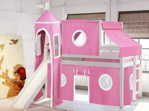 JACKPOT! Princess Low Loft Bed with Slide Pink & White Tent and Tower, Loft...