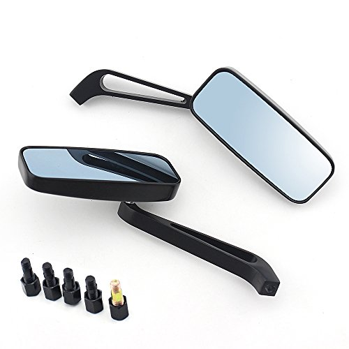 8mm/10mm Black Rectangle Motorcycle Bobber Mirrors Blue Mirror Reducing...