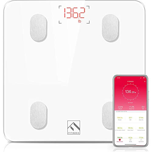 FITINDEX Bluetooth Body Fat Scale, Smart Wireless BMI Bathroom Weight Scale...