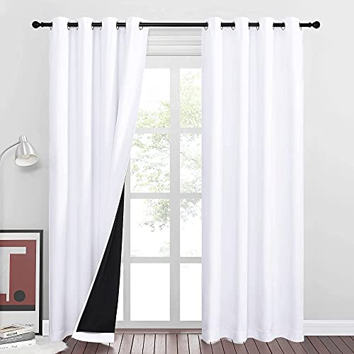 RYB HOME White Curtains - 2 Layers 100% Blackout Curtains Shades Thermal...