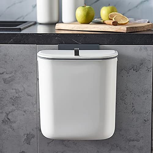 ELPHECO 2.5 Gallon Hanging Trash Can with Lid, Kitchen Cabinet Door Under...