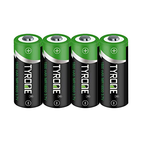 Tyrone 18500 Button top Rechargeable Batteries, 3.7V 1500mAh Lithium...