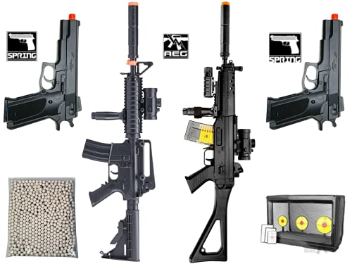 Airsoft Guns Starter Bundle Package 2 Electric Semi/Full Auto Airsoft...