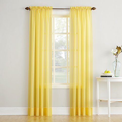 No. 918 46073 Erica Crushed Texture Sheer Voile Rod Pocket Curtain Panel,...