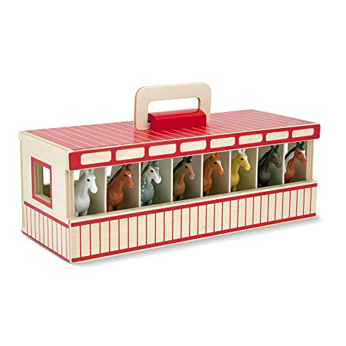 Melissa & Doug Take-Along Show-Horse Stable Play Set With Wooden Stable Box...