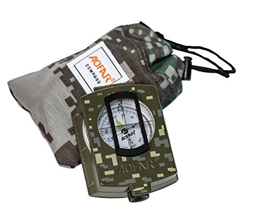 AOFAR Military Compass AF-4580 Lensatic Sighting Navigation, Waterproof and...