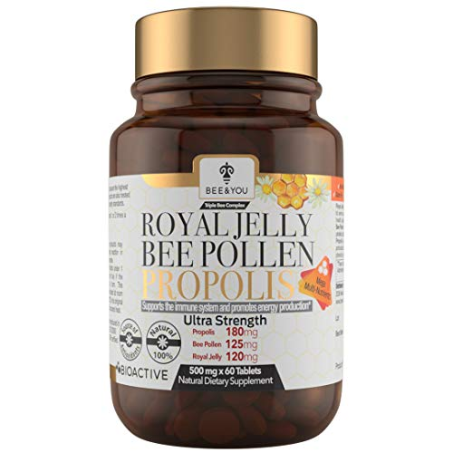 BEE and You Royal Jelly + Propolis + Bee Pollen Tablets – High Potency -...