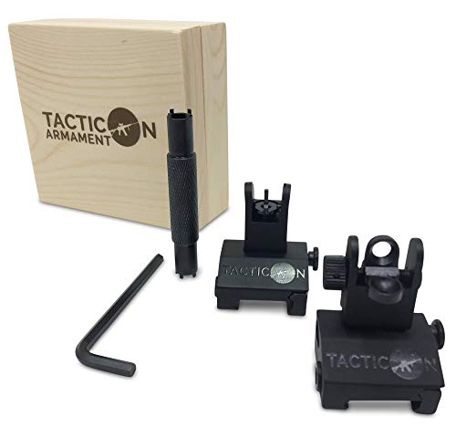 Tacticon Flip Up Iron Sights for Rifle Includes Front Sight Adjustment Tool...