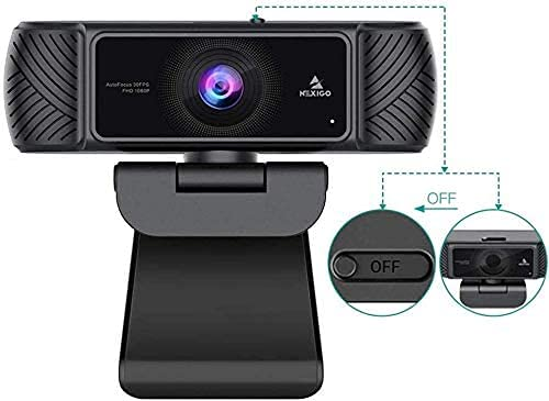 2021 AutoFocus 1080P Webcam with Microphone, Software and Privacy Cover,...