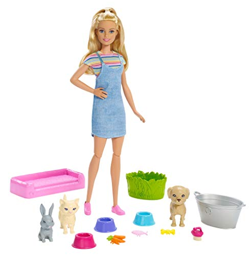 Barbie Play 'n' Wash Pets Playset with Blonde Doll, 3 Color-Change...