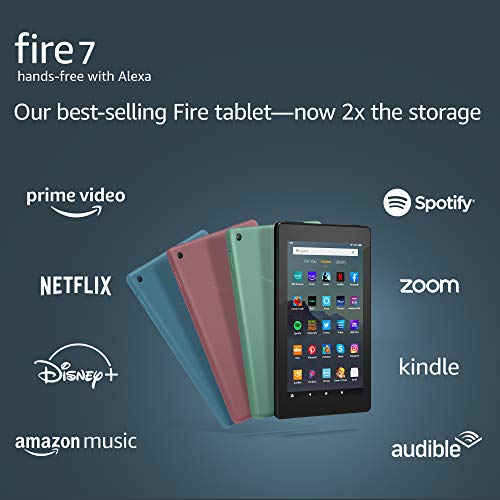 Fire 7 tablet, 7' display, 16 GB, latest model (2019 release), Black