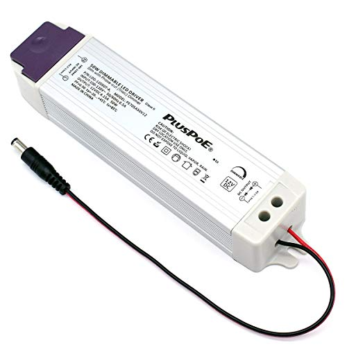 PLUSPOE 50W Dimmable LED Driver, 110V AC-12V DC Transformer Electric Power...
