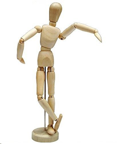 HSOMiD 12'' Artists Wooden Manikin Jointed Mannequin Perfect for Home...