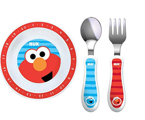 NUK Sesame Street Bowl Plate, Fork and Spoon Set in Red and Blue (Bundle of...