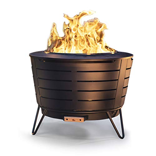 TIKI Brand 25 Inch Stainless Steel Low Smoke Fire Pit - Includes Free Wood...
