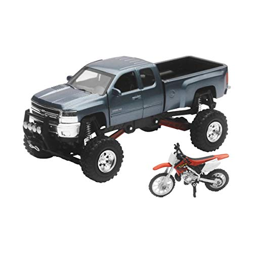 New-Ray Chevrolet 4x4 Gray Silverado Pickup Truck w/ Working Suspension and...