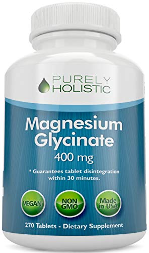 Magnesium Glycinate 400mg - 100% More 270 Magnesium Tablets (not Capsules),...