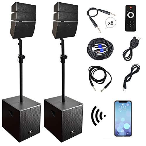 PRORECK Club 3000 12-Inch 4000w DJ Powered PA Speaker System Combo Set with...