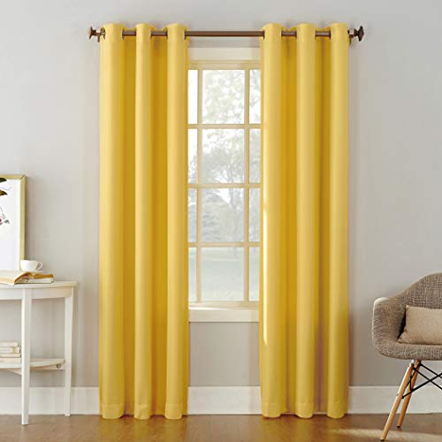 No. 918 Montego Casual Textured Grommet Curtain Panel, 48' x 84', Yellow