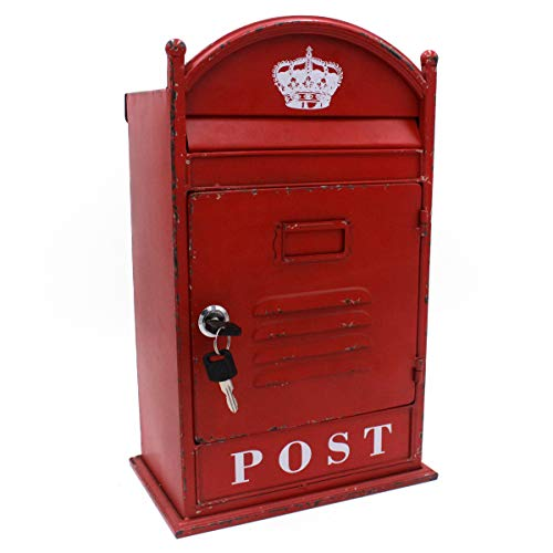 Funerom Vintage Wall Mounted Post Box Metal Mailbox with Secure Lock and 2...