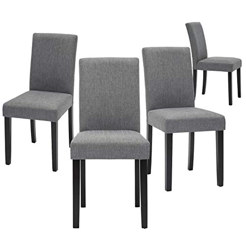 Upholstered Dining Chairs with Solid Wooden Legs, Modern Stylish Fabric...