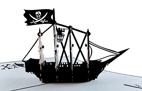 iGifts and Cards Pirate Ship 3D Pop up Greeting Card - Flag, Vessels, Boat,...