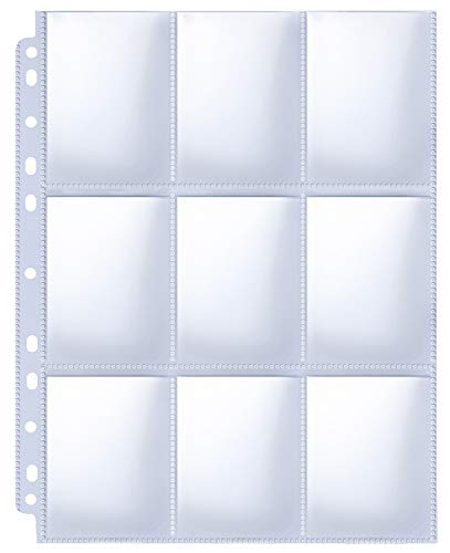 HERKKA Trading Card Sleeve Pages, 100 Pack 9 Pocket Trading Card Storage...