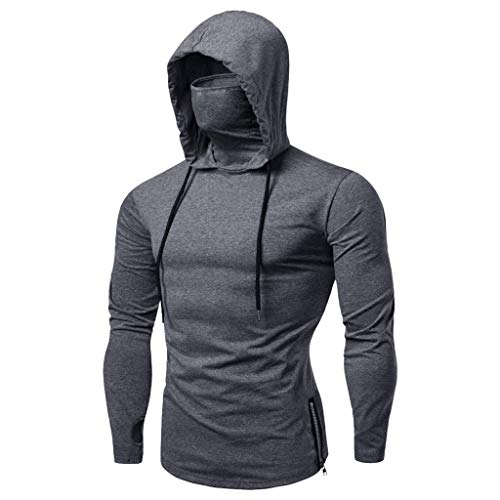 Mens Facemask Skull Pure Color Pullover Hoodies Long Sleeve Hooded...