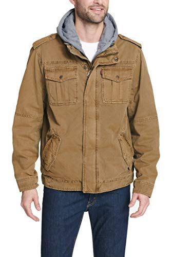 Levi's Men's Washed Cotton Hooded Military Jacket, Brown, Medium