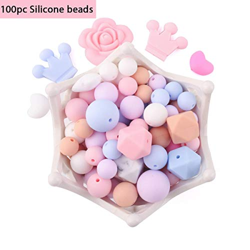 100pc DIY Silicone Beads Pink Series Geometry Hexagonal Round Silicone...