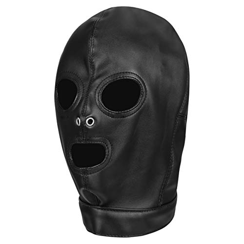 TENDYCOCO Black Leather Headgear Open Eyes Open Mouth Face Cover with...