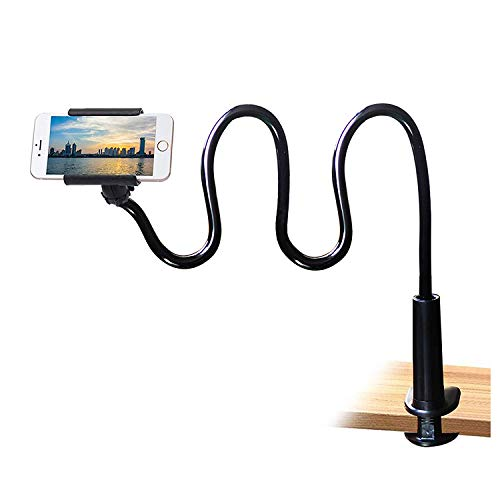 Cell Phone Clip on Stand Holder - with Grip Flexible Long Arm Gooseneck...