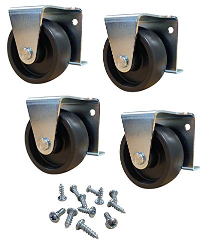 2' Inch Low Profile Trundle Cabinet Casters Wheels with Furniture Screws -...
