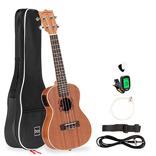 Best Choice Products 23in Acoustic Electric Concert Sapele Ukulele Starter...