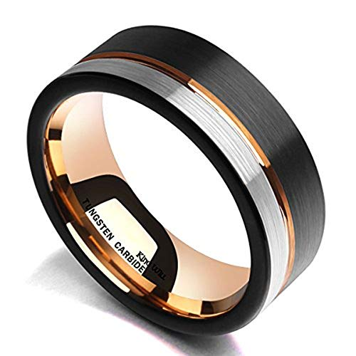 King Will Loop Tungsten Carbide Wedding Band 8mm Rose Gold Line Ring Black...
