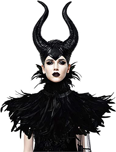 Gothic Black Crow Costume Feather Cape Shawl with Maleficent Horns Cosplay...