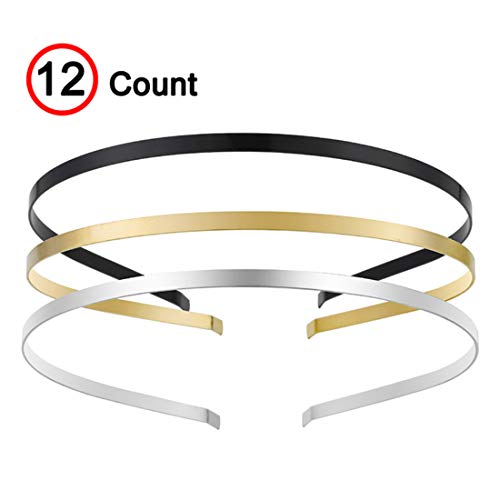 Womens Metal Headbands with 3 Colors Black Gold Silver Plated Hairband Head...