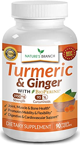 Extra Strength Turmeric Curcumin with Ginger & BioPerine - 1950mg Joint...