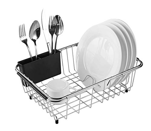 Expandable Dish Drying Rack, 304 Stainless Steel Over Sink Dish Drainer,...