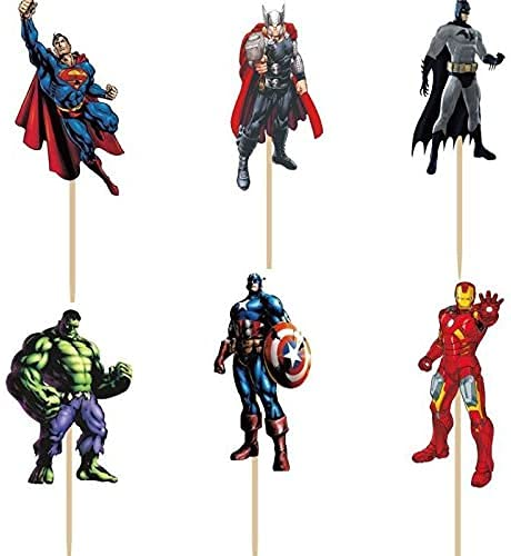 48 pcs Superhero Avengers Cupcake Toppers for Kids Boys Birthday Party Cake...