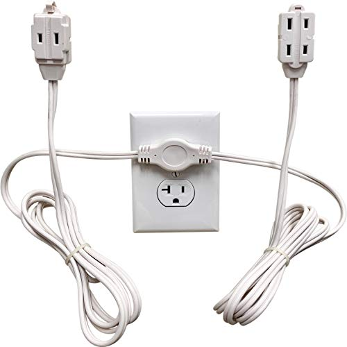 Twin Extension Cord Power Strip - 12 Foot Cord - 6 feet on Each Side - Flat...