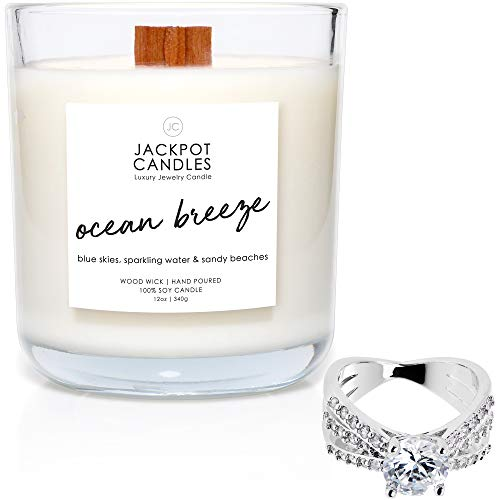 Jackpot Candles Ocean Breeze Candle with Ring Inside (Surprise Jewelry...
