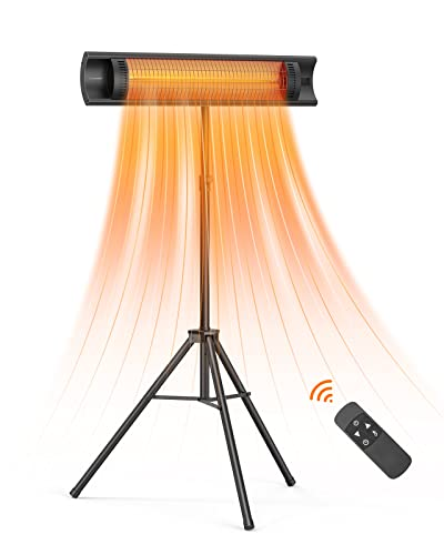 Outdoor Patio Heater, Luwior 1500W Electric Infrared Heater with Remote, 3...