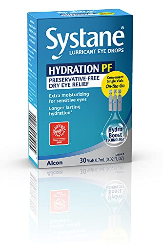 ALCON Systane Hydration Preservative-Free Lubricant Eye Drops, Transparent,...