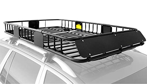XCAR Roof Rack Carrier Basket Rooftop Cargo Carrier with Extension Black...