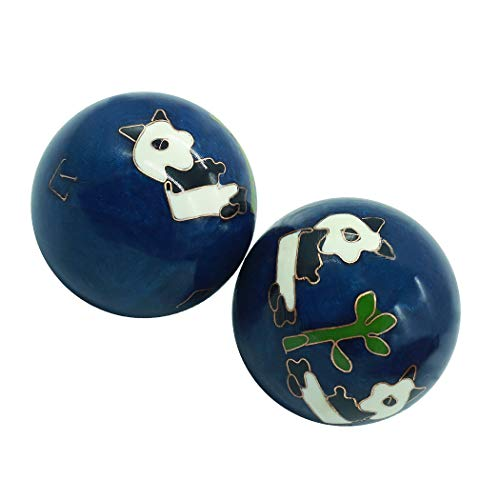 1.5'' Health Hand Balls Carved Panda Pattern Cloisonne Exercise Stress...