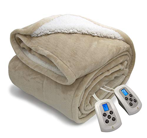 Electric Blanket MicroPlush Sherpa and Reversible Flannel Washable Heated...