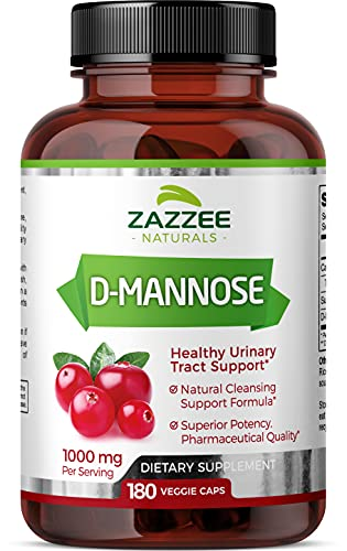 Zazzee D-Mannose 180 Vegan Capsules, 1000 mg per Serving, Pure, Potent and...